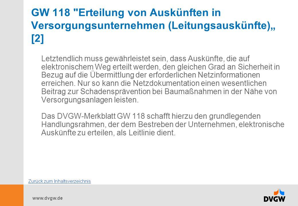 """GW 118 Erteilung von Auskünften in Versorgungsunternehmen (Leitungsauskünfte)"""" [2]"""